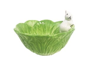 grøn kanin skål til foder med hvid kanin. Tung foderskål