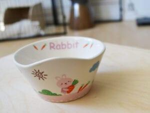 lyserød madskål med kanin og blomster