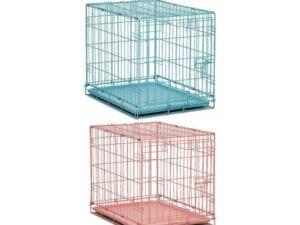 blåt og lyserødt bur til små hunde, katte eller kaniner til transport