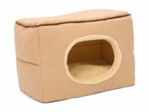 lys brun 3 i 1 hule til kanin. Kanin hule som kan foldes ud som kanin sofa eller foldes sammen som kanin kurv